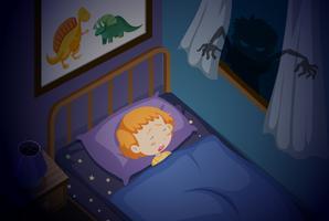 Uma menina dormindo pesadelo vetor