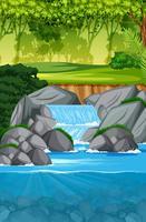 cena da bela cachoeira paisagem vetor