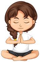Uma garota meditando sobre fundo branco vetor