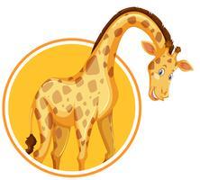 Um modelo de etiqueta de girafa vetor