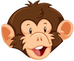 Um, macaco, rosto, branco, fundo vetor