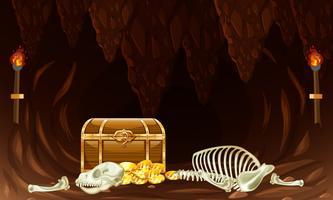 Baú do tesouro na caverna subterrânea vetor