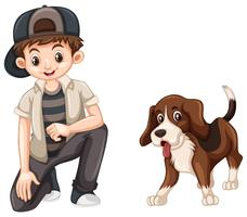Menino e cachorro beagle fofo vetor