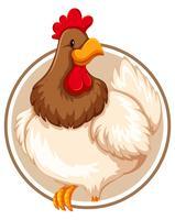 Uma galinha no modelo de etiqueta vetor