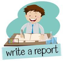 Escreva um flashcard de relatório vetor