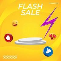 design de cartaz de venda flash com pódio e ícone de mídia social. vetor