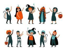 conjunto de meninos e meninas isolados em fantasias de halloween vetor
