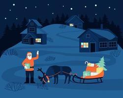 o papai noel veio à aldeia à noite para entregar presentes às crianças vetor