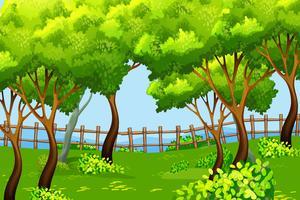 Fundo de paisagem de cena de parque vetor
