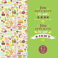 Saudável comer fundo com citação. vetor
