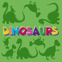 Dinossauros palavra com muitos dinossauros no fundo vetor