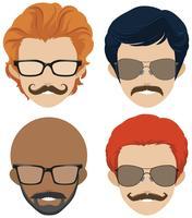 Estilos de bigode e óculos para homens vetor