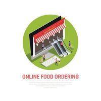 ilustração em vetor conceito de pedido de comida móvel