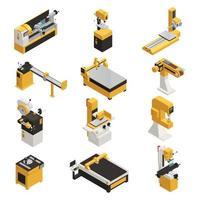 ilustração vetorial conjunto de ícones de maquinaria industrial vetor