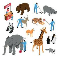 ilustração vetorial conjunto isométrico de trabalhadores de zoológico vetor
