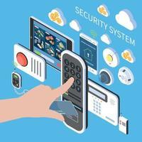 ilustração em vetor composição isométrica do sistema de segurança