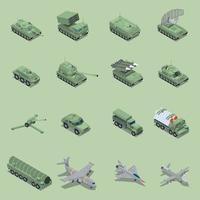 ilustração vetorial conjunto isométrico de veículos militares vetor