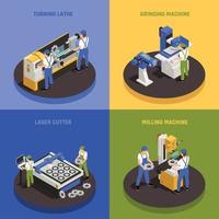 Conjunto de ícones de conceito de maquinaria industrial vetor