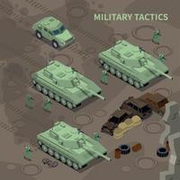 ilustração em vetor fundo isométrico táticas militares