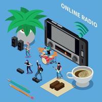 ilustração vetorial de composição isométrica de rádio online vetor