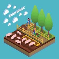 ilustração vetorial de composição isométrica agrícola vetor