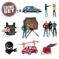Conjunto de ícones de agressão, violência, crime, ilustração vetorial vetor