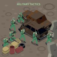 ilustração em vetor composição isométrica táticas militares