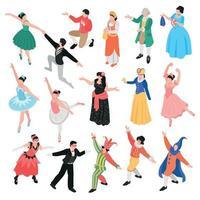 dançarinos de balé isométrico definir ilustração vetorial vetor