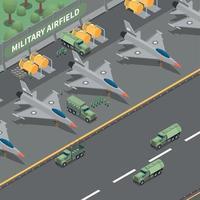 ilustração vetorial de composição isométrica de aeródromo militar vetor