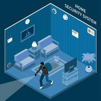 ilustração em vetor composição isométrica de segurança doméstica