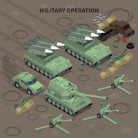 ilustração vetorial de fundo isométrico de operação militar vetor