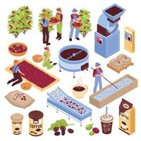 ilustração vetorial conjunto de elementos de produção de café vetor