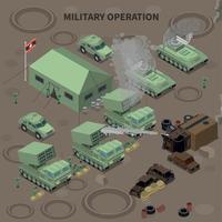 ilustração em vetor composição isométrica de operação militar