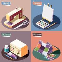 ilustração em vetor conceito de design 2x2 hobby artesanato