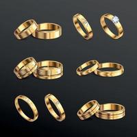 ilustração em vetor conjunto realista de anéis de ouro