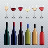 ilustração vetorial conjunto transparente de garrafas e copos de vinho vetor