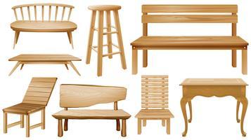 Projetos diferentes de cadeiras de madeira vetor