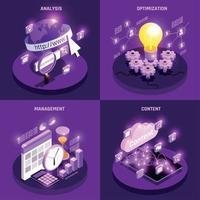 conjunto de ícones do conceito de tráfego da web ilustração vetorial vetor