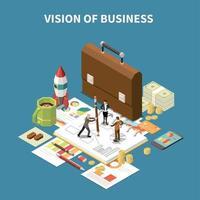ilustração isométrica de composição de estratégia de negócios vetor