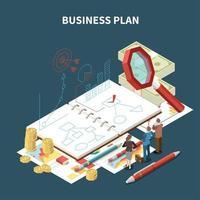 ilustração isométrica isolada do vetor da composição da estratégia de negócios