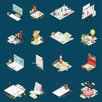 ilustração vetorial conjunto de ícones isométricos de estratégia de negócios vetor