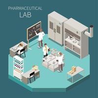 ilustração em vetor composição isométrica de produção farmacêutica