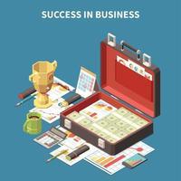 ilustração em vetor composição 3d isométrica estratégia de negócios