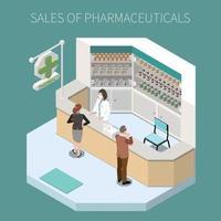 ilustração de vetor de composição de produção farmacêutica isolada