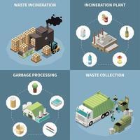ilustração vetorial conjunto de ícones isométricos de reciclagem de lixo vetor