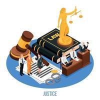 ilustração em vetor lei justiça composição isométrica