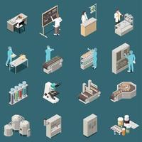 ilustração vetorial conjunto de ícones isométricos de produção farmacêutica vetor
