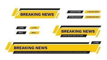 barras de notícias na terceira parte inferior da tv definir vetor em amarelo