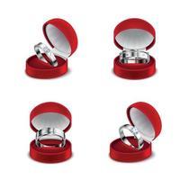 ilustração em vetor anéis joias conjunto realista