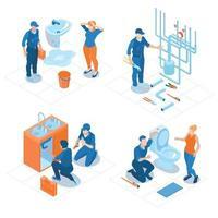 ilustração em vetor conceito isométrico de serviço de encanamento